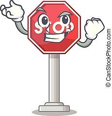 Successful sign stop cartoon side street mascot