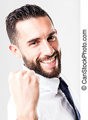 successful smiling businessman with beard