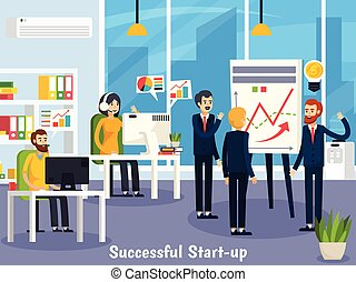 Successful startup orthogonal composition with employees near whiteboard with research and at workplaces in office vector illustration