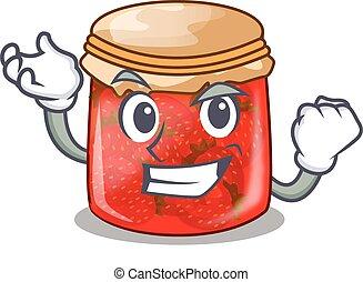 Successful strawberry marmalade in glass jar of cartoon