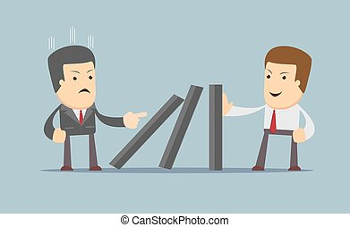 Successful strong confident businessman stopping domino effect.