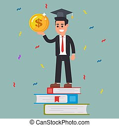 successful student with a coin in his hands.
