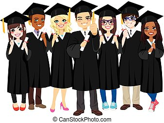 Group of diverse and successful graduating students together with black gown on white background