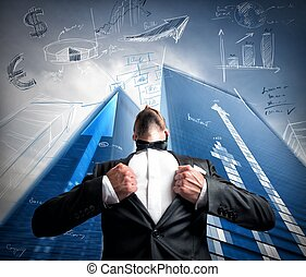 Successful super hero businessman