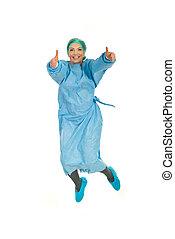 Successful surgeon woman jumping