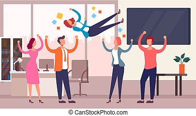Successful team throwing colleague winner up. Business success concept. Vector flat cartoon graphic design isolated illustration