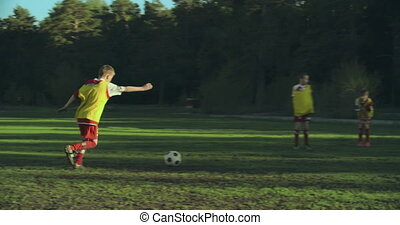 Successful Team - Soccer team striking the ball to the...
