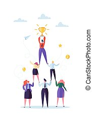 Successful Team Work Concept. Pyramid of Business People. Leader Holding Golden Cup on the Top. Leadership, Teamworking and Success. Vector illustration