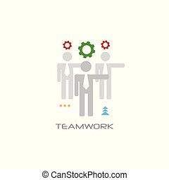 successful teamwork process concept businesspeople team working together people collaboration line style white background