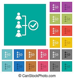 Successful teamwork square flat multi colored icons