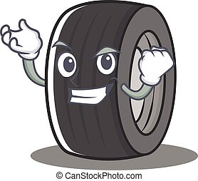 Successful tire character cartoon style