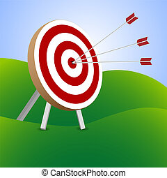 Successful triple target hit - Red and white target with...