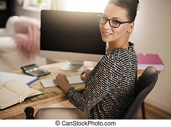 Successful woman at the home office