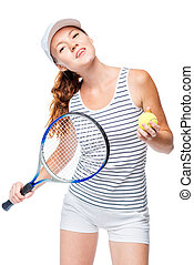 successful woman in tennis is posing on a white background