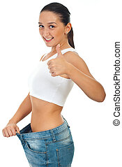 Successful woman loss weights