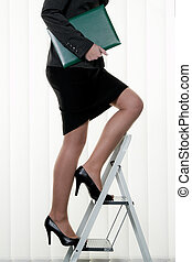 Successful woman makes career ladder