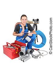 Successful woman plumber