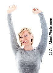 Successful woman raising arms in exultation - Successful...