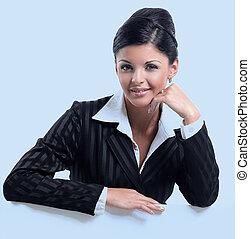 successful woman showing blank sheet