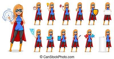 Successful woman wearing superhero costume