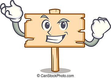 Successful wooden board character cartoon