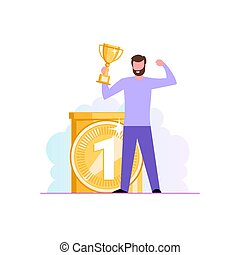 Successful work. A man is standing with a champion cup