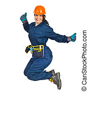 Successful worker woman jumping