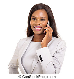young african american businesswoman talking on mobile phone