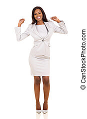 young african business woman dancing