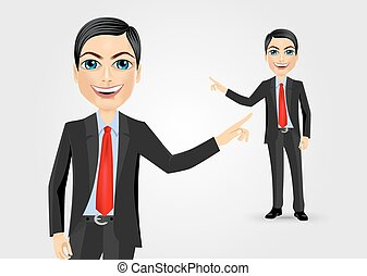 business man pointing at something