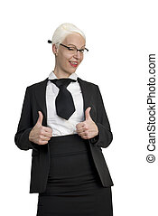Successful young business woman showing thumbs up.