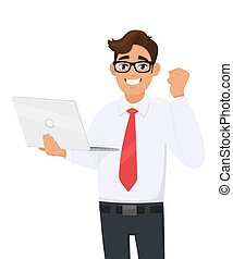 Successful young businessman holding laptop computer and making raised hand fist gesture. Person celebrating success sign. Modern lifestyle, digital technology illustration in vector cartoon style.