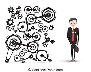 Successful Young Businessman in Suit with Cogs - Gears. Vector Manager Cartoon Isolated on White Background.