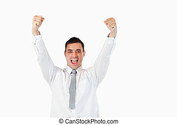 Successful young businessman against a white background