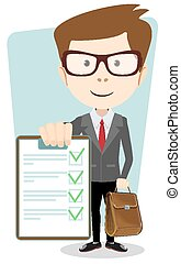 Successful young businessman with an approved, verified documents and briefcase, vector illustration
