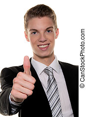 Successful young man holds up thumb
