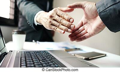 successful., zakelijk, collectief, hand, zakenman, schudden