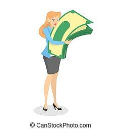 successfull, femme, argent, étreinte, tas, heureux