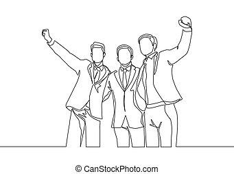 successive, felice, alto, continuo, affare, riunione, giovane, tre, disegno, gesture., cinque, loro, concetto, rivestire disegno, festeggiare, bersaglio, uomini affari, illustrazione affari, disegnare, uno