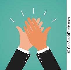 successo, affari, dare, due, alto, lavoro, cinque, mani