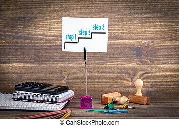 successo, affari, lavoro, -, passo, 1, desk., 2, 3., fondo