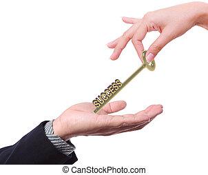 successo, affari, offerta, chiave, altri, uomo