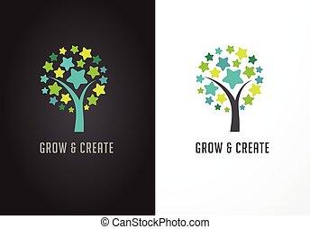 successo, albero, -, educazione, stelle, cultura, icona