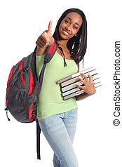 successo, americano, adolescente, africano, ragazza, ...