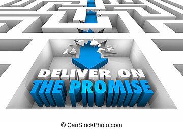 successo, consegnare, illustrazione, promessa, freccia, labirinto, ottenere, 3d