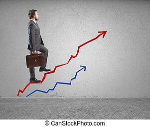 successo, e, determinazione, in, affari