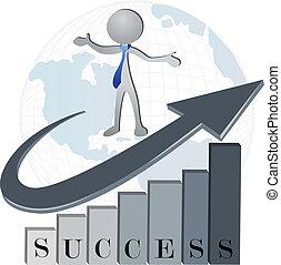 successo, finanziario, ditta, logotipo