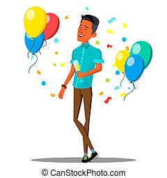 successo, isolato, illustrazione, vetro, uomini affari, vector., coriandoli, cadere, champagne, celebrare