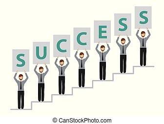 successo, persone affari, uomini, carattere, scale
