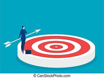 successo, scopo, grande, bersaglio, uomo affari, concetto, scopo, pensare, affari